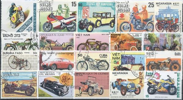 Známky - 100 rôznych, automobily a motorky