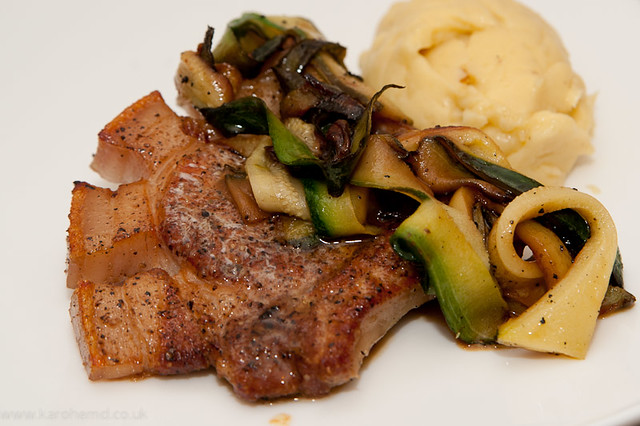 Pork Chop, Courgette, Buttery Mash, Cider Sauce