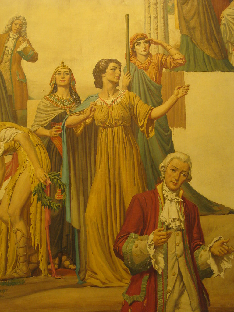 """Detail of Napier Waller's Mural """"Winter - Actresses and Drama from Medieval Times to the Present"""" - Myer Emporium Mural Hall, Bourke Street, Melbourne"""