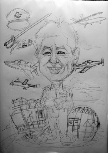 Caricature for Singapore Air Force - pencil sketch