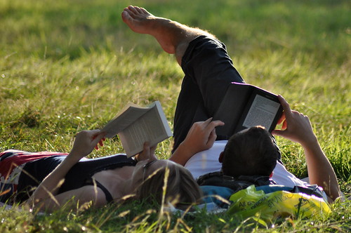 Paperback Book vs. Amazon Kindle by MegMoggington, on Flickr