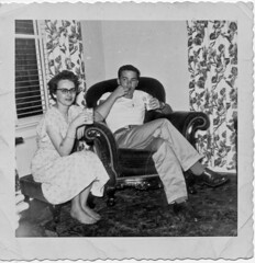 Mom & Dad very early '50s I think at Grandpa & Grandma Hotson's house (drpimento) Tags: family usa love wisconsin parents side wayne north bonnie lacrosse youngcouple wi wis hotson koreanwarveteran 313caledoniastreet
