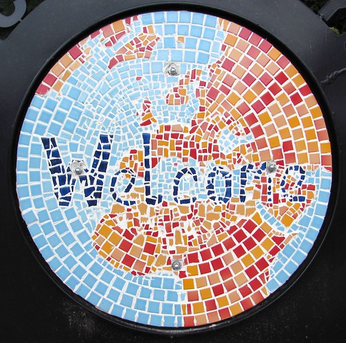 Mosaic welcome plaque, Sunnybank Nature Reserve, Sheffield