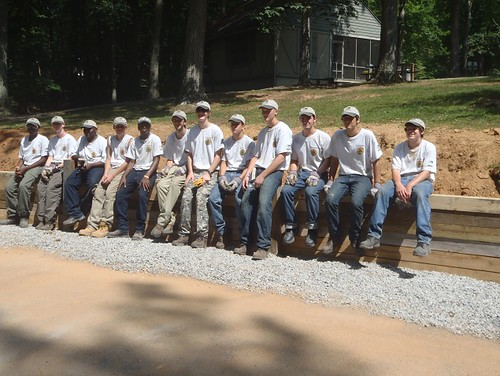 The Twin Lakes YCC crew show off their finished project - a retaining wall in the cabin area