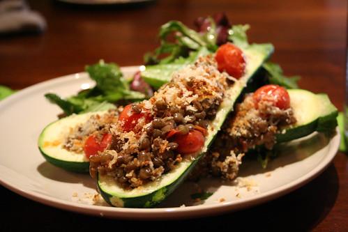 Lentil stuffed zucchini
