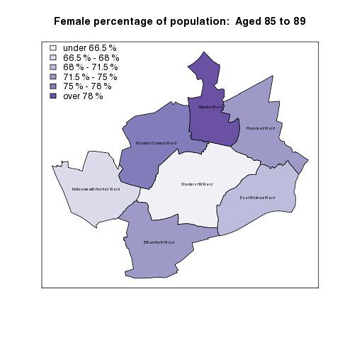 Female percentage of population:  Aged 85 to 89