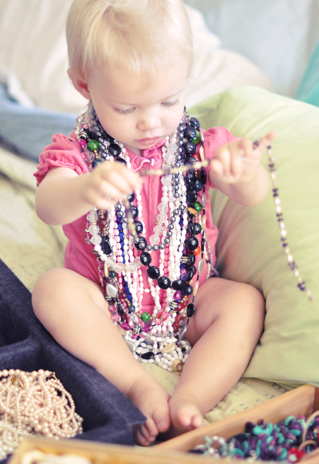 delilah wearing nana's vintage necklaces