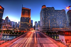 Columbus Drive (Christopher.F Photography) Tags: bridge blue light columbus chicago building skyline night nbc drive nikon long exposure cityscape trails hour hdr hdri d3000