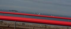 Of the map (Kitty Terwolbeck) Tags: red water amsterdam zeilen train meer railway railing rood spoor almere zeilboten