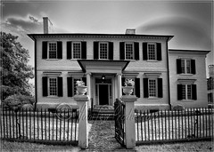 Kelby's 2011 Worldwide Photo Walk in Fredericksburg, Virginia - house vertical pano  (b&w infrared) (danilew) Tags: pictures trees blackandwhite bw panorama plants usa house home monochrome fence buildings landscape geotagged ir virginia us blackwhite highresolution flora nikon october photos landscaping unique images panoramic foliage photographs adobe va photowalk infrared d200 agriculture nikkor residence fredericksburg bushes horticulture shrubs shrubbery modded abode dwelling 2011 panoramicphotography infraredphotography fencegate nikond200 720nm 18200mmf3556gvr nikon18200f3556 invisiblelight customfilter niksoftware lightroom3 convertedinfraredcamera solmeta nikond200ir capturenx2 scottkelbysworldwidephotowalk wwpw tonalcontrastfilter danilew solmetageotaggern2 photoshopcs5 wwwdanilewcom silverefexpro20