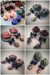 Mosaic of the new plugs (Mommysaurus) Tags: flowers fashion body girly jewelry jewellery cameo modification plugs glamsquared