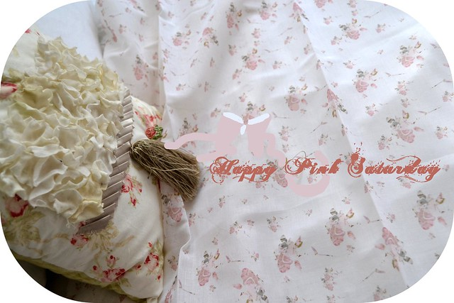 Shabby Chic Roses in A Pink Garden fabric design