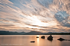 Milarrochy Bay sunset (w.mekwi photography [on the road]) Tags: sunset water clouds scotland rocks boulder goldensunset lochlomond nikond90 milarrochybay wmekwiphotography