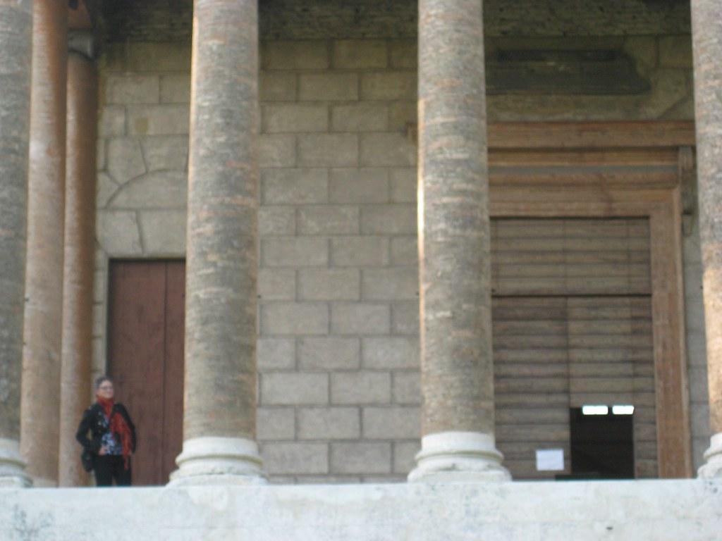 Molly on the portico of La Malcontenta