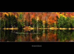 Adirondacks Fall Reflection (Shobeir) Tags: autumn panorama lake newyork reflection fall landscape colorful fallfoliage adirondack highpeak fallseason adirondackpark lakereflection peakcolors fallreflection shobeiransari