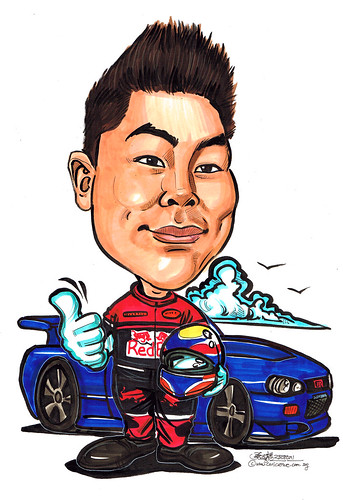 Redbull Racer caricature with Skyline