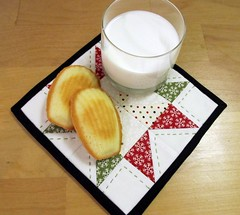 Madeleines, Milk, and a Mug Rug (bluebirdluxe) Tags: christmas moda glassofmilk countdowntochristmas mugrug madeleinecookies bluebirdluxe
