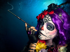 Smoking Catrina (Lloyd K. Barnes Photography) Tags: portrait hair dayofthedead purple cigarette makeup creepy wig diadelosmuertos catrina devan sugarskull cigaretteholder jenniferruth
