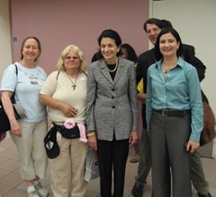 Mainers meet with Senator Olympia Snowe at the Portland airport. Tamsin Kemos is on the right of the Senator. 6/25/09