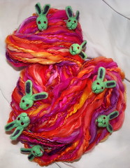 Zombie Bunny Sunset Art Yarn (ixchelbunny) Tags: rabbit bunny bunnies art knitting felting zombie felt yarn needle angora zombies ixchel ixchelbunny