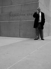 (misterbuckwheattree) Tags: chicago man lines wall corner standing concrete loop cityhall cellphone suit talking streetcorner washingtonstreet chicagoist