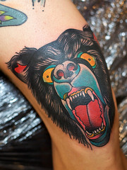 josh leahy tattoo, brisbane australia ((scream) josh) Tags: bear tattoo traditional australia brisbane bearhead neotraditional 2011 newskool kneetattoo joshleahy rainbowseawolftattoo