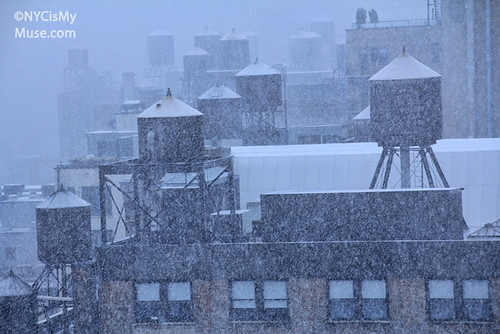 Rooftop Water Towers Freak October snow storm in NYC