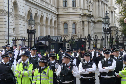 March against deaths in custody - police reinforcements in front of Downing Street