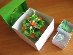 Sweet Spring kusudama & Sonobe in gift boxes (ronatka) Tags: kusudama origami gift box sonobe nataliaromanenko modularorigami tomokofuse sweetspringkusudama green orange