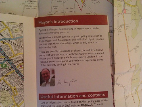 Ken Livingston as mayor on TfL cycling guides