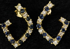 4066. 14KT Sapphire and Diamond Earrings