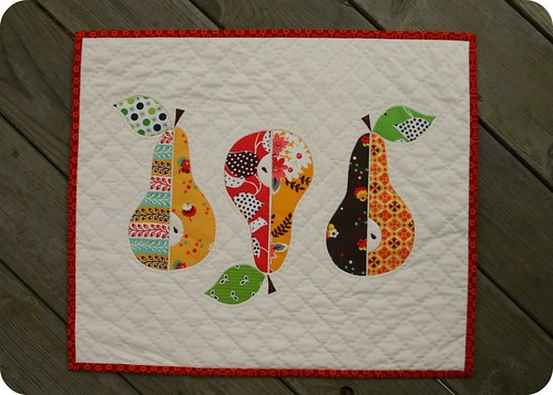 three pears mini quilt