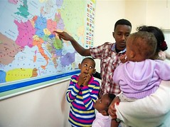 Abel - young asylum seeker from Eritrea (UNHCR Central Europe) Tags: family boy children war child map poland polska exhibition warsaw excitement asylum protection assistance unhcr flee eritrea photoexhibition asylumseeker uchodcy unrefugeeagency wysokikomisarznarodwzjednoczonychdsuchodcw europierodkowej uchodcw fundacjadlasomalii unhcrpoland