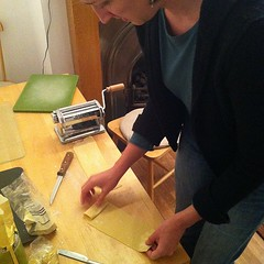 Watching @wordridden make fresh pasta.