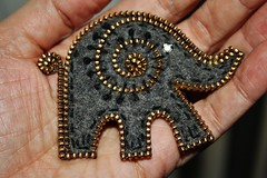 Had to try making a little elephant (woolly  fabulous) Tags: elephant wool brooch felt zipper embroidered
