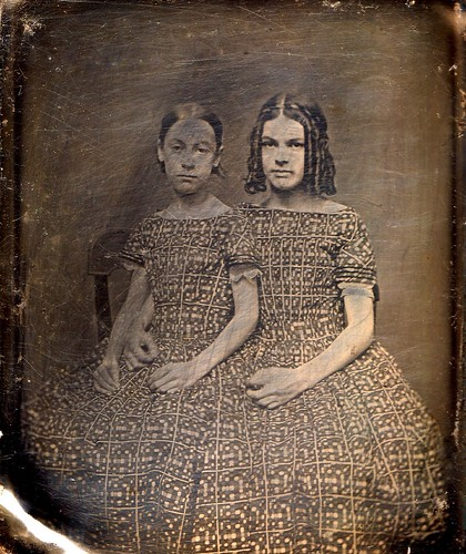 Sisters in Matching Dresses, 1/6th-Plate Daguerreotype, Circa 1850 by lisby1