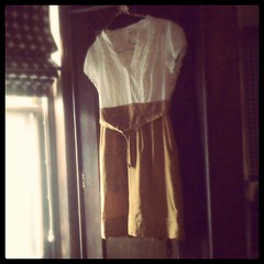 Pretty dress (phillynazer) Tags: sunlight window yellow vintage closet square dress squareformat brannan hanging hanger iphoneography instagramapp uploaded:by=instagram