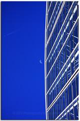 Mission Moon (Bugalugsrox) Tags: blue windows sky moon white glass architecture plane contrail jet australia aeroplane structure jetstream half adelaide botanic atrium botanicgardens