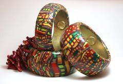 Stroppel's Cane with african influence (Mara Eva Ramos - Nin Studio) Tags: cane design artist handmade venezuela polymerclay multicolor artisan starrynight animalprints mokumegane stroppel spaghuettibangles