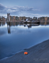 Blue River (janusz l) Tags: old longexposure blue beach water river boat leaf maple fishing sand bank richmond shore hour fraser wreck wrecked hdr piles janusz leszczynski 002317nov2411