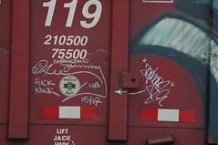 Corkscrew Johnny & Zephyr (A & P Bench) Tags: railroad train bench graffiti pacific rail railway canadian graff railfan freight rolling rollingstock stel fr8 benching