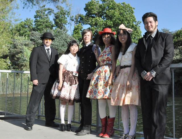 group shot by lake