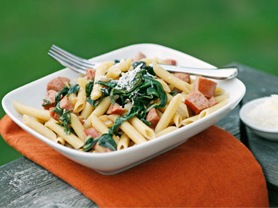 Penne with Swiss Chard and Kielbasa