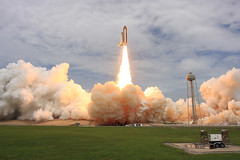 The Space Shuttle soars into history on STS-135 (Ben_Cooper) Tags: coast tank space pad center atlantis shuttle cape rocket ksc launch spaceshuttle kennedy booster external canaveral solid orbiter 39a ov104 sts135 blastoffliftofflaunch rocketrocketssrb