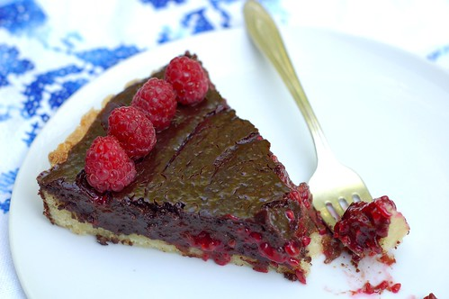 Chocolate Raspberry Tart by Eve Fox, Garden of Eating blog, copyright 2011