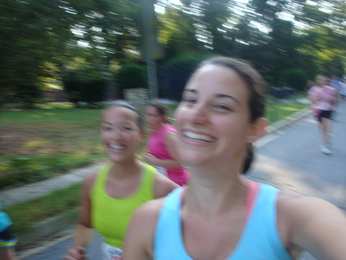 Running and smiling
