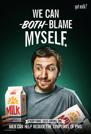 a poster of a young man in front of a green background holding a carton of milk that reads 'we can both blame myself' and 'got milk?'