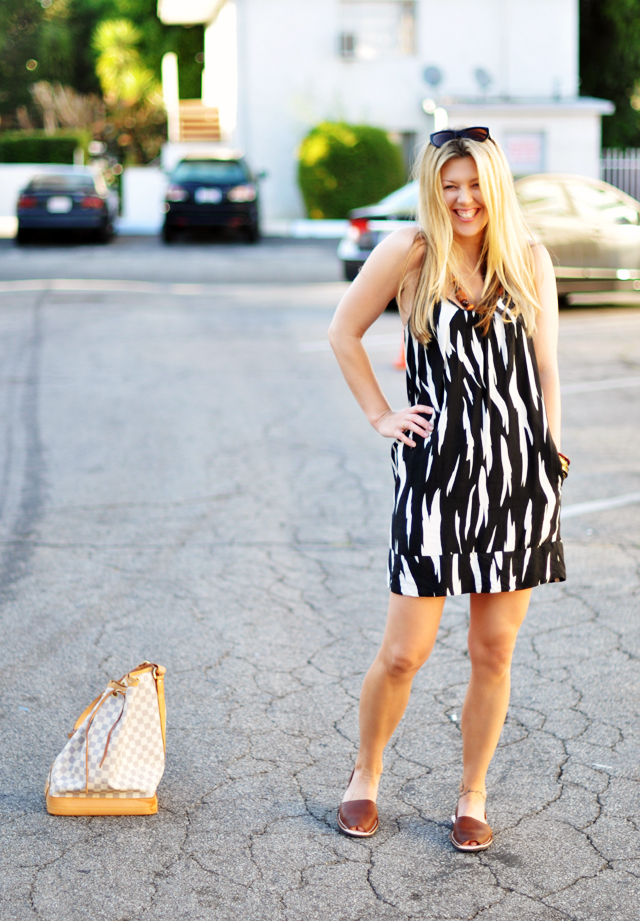black and white   dress with brown accessories