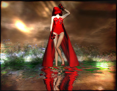 Taking the Salute at Lost World (Alles Klaar) Tags: flowers red woman water beauty clouds reflections veil framed posed secondlife flare cape windlight boxinggloves simplybeautiful filterforge