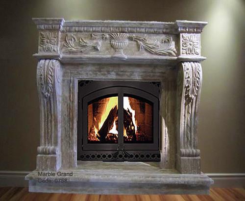 MarbleGrand.com Limestone Fireplace Mantel Code 0758
